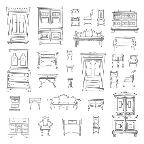 Antique furniture set: closet, nightstand, closet, chairs, nightstands and bureaus isolated on a white background. Vector hand drawn retro collection. Sketch style.